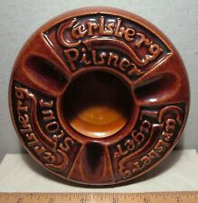 "Carlsberg Pilsner Lager Stout Vintage Ceramic Ashtray Brown 6"" round embossed"
