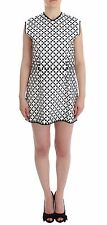 NWT $1900 MARTINA SPETLOVA Black White Nappa Leather Sheath Mini Dress IT42/US8