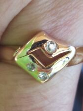 White Sapphire Round Cut Ring Two Tone 14kt Solid Gold