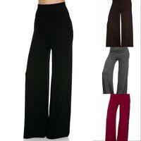 NEW FOLD-OVER YOGA WAIST Wide Leg STRETCH PALAZZO PANTS Soft S/M/L/XL 5 Colors!