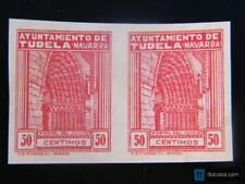 Sello local Guerra civil Tudela (Navarra) 50 cent sin dentar. Pareja