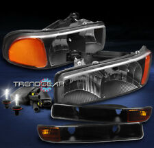 1999-2007 GMC SIERRA/2000+ YUKON XL BLACK/AMBER CRYSTAL HEAD LIGHT+BUMPER+8K HID