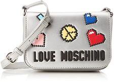 Love Moschino Borsa Soft Nappa PU Argento - Borse Baguette Donna (f8s)