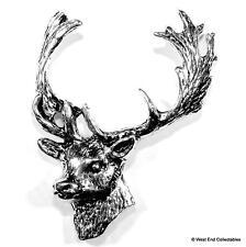 Fallow Deer Pewter Pin Brooch Badge -UK Handmade- Stag Antler Horn Hunting