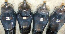 FOUR RCA 6F8G Tube's Grey Glass Black Ribbed Plates VT-99 Vintage Quad 6SN7 SUBS