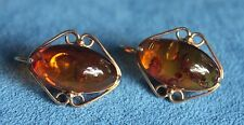 Unusual Vintage 14Kt Yellow Gold Baltic Russian Amber 8 Gram Pierced Earrings