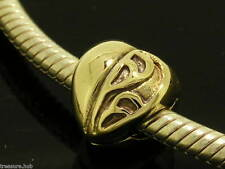 Bd012- GENUINE 9ct SOLID Yellow Gold HEART Clip BEAD Stopper Charm
