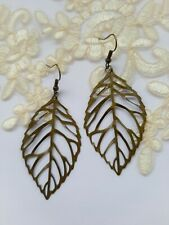 Vintage Inspired Long Leaf Dangle Earrings