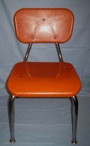 Vtg Scholar Craft Southeastern Metal ORANGE Childs Chair Metal/Plastic/Masonite!
