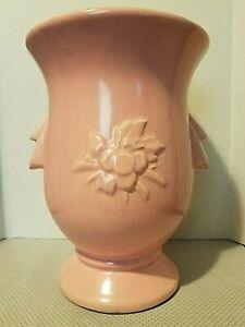 Vintage 1940's McCoy Pink Bird w/Cherry Clusters Vase Faux Handles