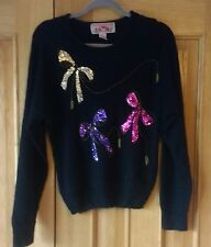 Vintage Black Sweater with Sequin Bows 70s 80s Silk Angora Retro S Small