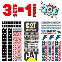 3er Set 1:14 - 1:16 Aufkleber CAT LIEBHERR SCHMITZ - RC Tamiya Wedico Decal
