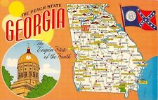 State Map postcard Greetings from Georgia chrome large letter The Peach State