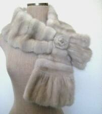 Beige Gray Mink Fur Stole Scarf with Flower Mink Pull Through