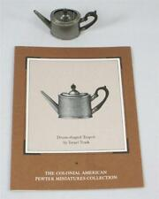 Franklin Mint Colonial American Pewter Miniatures Drum Shaped Teapot w/COA 1:6