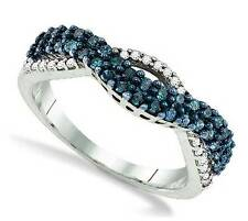 Blue Diamond Ring .925 Sterling Silver Blue & White Diamond Twist Band .51ct