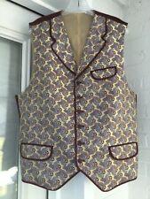 Mens Dress Vest 46L Tall Waistcoat Custom Silk Paisley Gunfighter Gambler Creamy