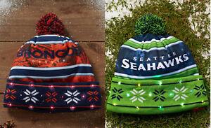 NFL Light Up LED Christmas Hat Denver BRONCOS or Seattle SEAHAWKS Pom