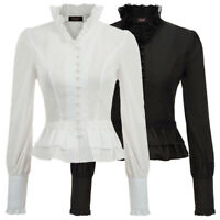 Womens Medieval Renaissance Vintage Shirt 18th Century Long Sleeve T-Shirt S-2XL