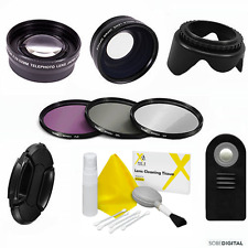 WIDE ANGLE LENS + ZOOM LENS + REMOTE +3 FILTERS FOR PANASONIC  LUMIX DMC-FZ200