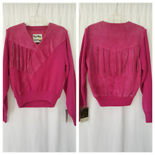 new- VINTAGE '80 PIONEER WEAR women's fringe suede sweater size M raspberry NWT