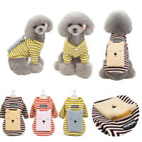 Pet Coat Dog Jacket Stripe Clothes Puppy Cat Sweater Coat Clothing Apparel New