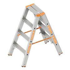 TOPIC 1043 Alu Layher Stehleiter zweiteilig, Kunststoffschuhen 2x 4 Stufen 0,95