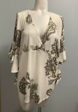 Free People Maui Wowie Size S Palm Print Shirt  In (Ivory Combo) Msrp $78.