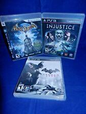 Lot of 3 PS3;Batman Arkham Asylum, Arkham City, Injustice, All w/ Mans,VG, FR SH