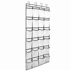 24 Pocket Wall Door Shoe Organiser Bag Over Door Holder Hanging Shelf Rack Hooks