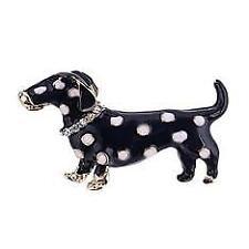 Enamel Black Dachschund Weenie Dog with White Spots Brooch Pin New