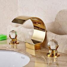 Waterfall Bathroom Sink Faucet 3-Hole Brass Gold Dual Crystal Handle Mixer Tap