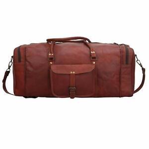 Genuine Leather Outdoor Gym Duffel Bag Cloths Travel Weekender Overnight Luggage