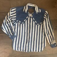 VTG Western Cowgirl Striped Denim Keyhole Back Button Up Shirt Womens M 90s