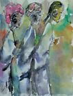 Original African American 8.5x11 signed Hand Painting