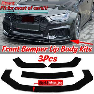 For AUDI A4 A5 B6 B7 B8 B9 S3 S4 S5 RS5 TT Front Bumper Lip Body Kit Spoiler 3PC
