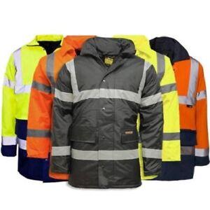 Hi Viz Visibility Parka Jacket Two Tone Security Work Wear Coat Waterproof