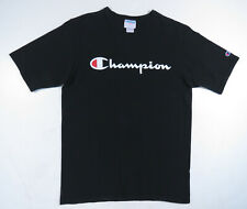 Vintage Champion Black And White Big Script Spell Out Logo T Shirt Tee Mens L