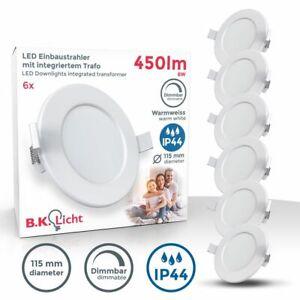 6x LED Einbauspots Bad Strahler Einbauleuchten weiß dimmbar Deckenspots IP44
