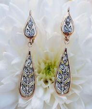 Edwardian Stye 9ct Rose Gold & Diamond Garland Drop Earrings 0.17ct