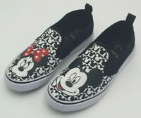 Disney Micky & Minnie Mouse Black/White Canvas Slip-On Shoes Size 3 UK