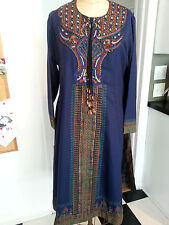 Boho sophisticate!Navy dress /loungewear luxe embroidery/ long sleeves Large