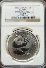 NGC MS 69 China 2000 1oz Silver Panda MIRROR RING
