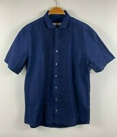 Saba Mens Button Up Shirt Size Large Navy Blue Short Sleeve Business Casual