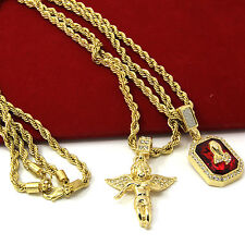 "Mens Gold Angel & P Ruby Bundle Set Cz Pendant Hip Hop 24"" & 30"" Rope Chain D463"