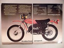 Kawasaki Enduro Motorcycle 2-Page PRINT AD - 1973