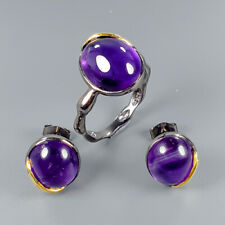Handmade Natural Amethyst 925 Sterling Silver SET  Ring Size 8.5/R114949