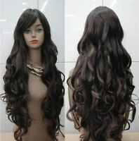 New Fashion Resistant Long Dark Brown Curly Cosplay Women's Full Hair Wig