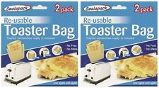 2 Packs Reusable Toaster Toastie Sandwich Toast Bags Pockets Toasty Toastabags