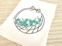 VTG Over Sized Dish Towel/Tablecloth Basket w/Embroidered Turquoise Flower 33x35
